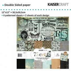 "Kaiser craft paper pack 12x12"" 150g 6x2ass. 75 cents"