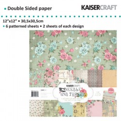 "Kaiser craft paper pack 12x12"" 150g 6x2ass. needle & thread"