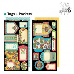 Graphic bohemian bazaar tags & pockets