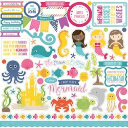Echo Park Let's Be Mermaids 12x12 Inch Element Sticker Sheet