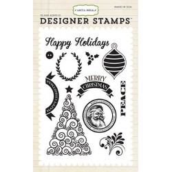 Carta Bella Happy Christmas 4x6 Inch Clear Acrylic Designer Stamps