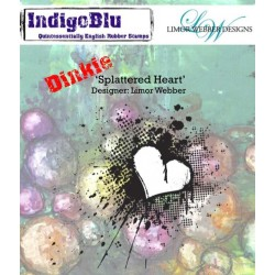 IndigoBlu Splattered Herz Heart A7 Rubber Stamps