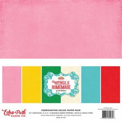 Echo Park Happiness Is Homemade Coordinating Solids 12x12 Inch Paper Pack