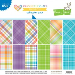 Lawn Fawn Perfectly Plaid Rainbow 12x12 Inch Collection Pack