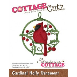 Scrapping Cottage Cardinal Holly Ornament