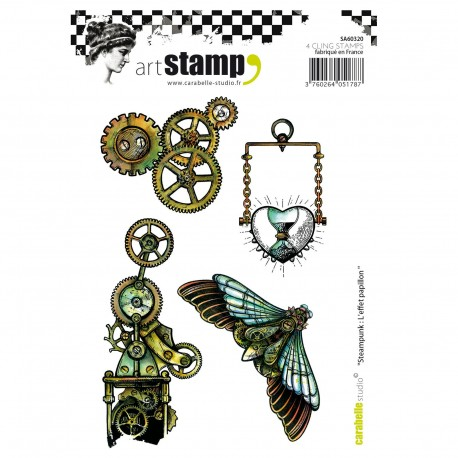 Carabelle cling stamp A6 steampunk l'effet papillon