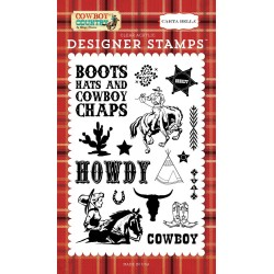 Carta Bella Cowboy Country Howdy Cowboy 4x6 Inch Clear Stamps