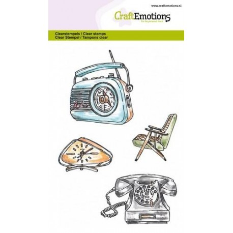 CraftEmotions clearstamps A6 - Vintage Radio, Uhr