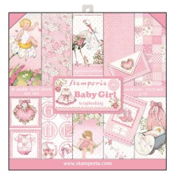 Stamperia Baby Girl 12x12 Inch Paper Pack
