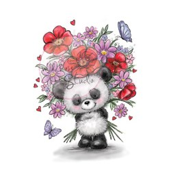 Wild Rose Studio`s A7 stamp set Panda with Flowers