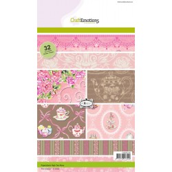CraftEmotions Paper stack High Tea Rose 32 Bogen A5